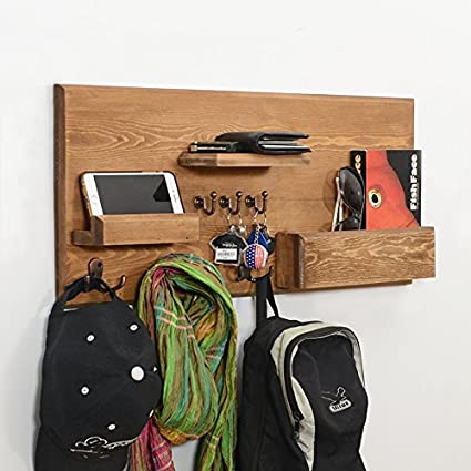 Woodymood Welcome Wall Organizer Shelf, Key Hooks, Coat Hooks, Racks, Ledge, W:27.5 L:3.4 H:12 (Natural)