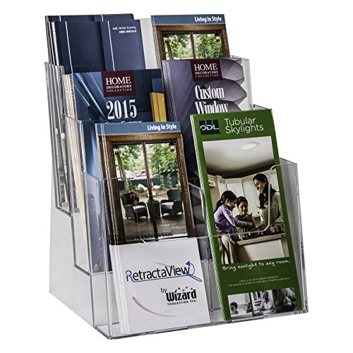 Clear-Ad - LHF-S83 - Plastic Rack Card Literature Display Holder - Acrylic 3 Tier 6 Pocket Brochure Organizer - Desktop or Wall Mount Leaflet Rack - Tabletop Multiple Pamphlet Stand (Pack of 6) Acrylic Brochure Displays