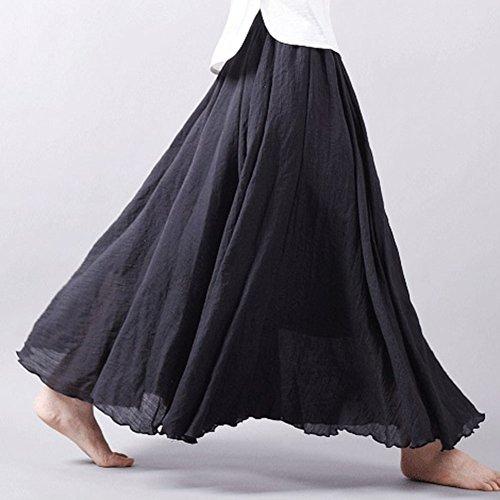 Longue Long Taille De Rtro Bohme Skirt Classique Lin En Elastique Elgante Plage Pliss Jupe Noir Femme Coton znUIxtdqq
