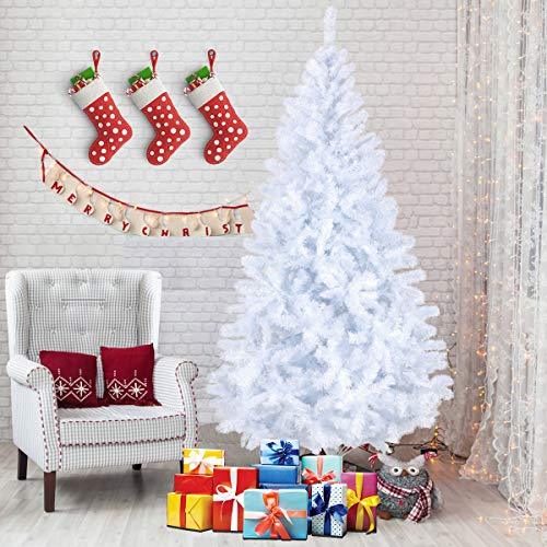 SUNCOM 7 Feet Christmas Tree, Artificial Christmas Pine Tree Full Branch 1200 Tips with Solid Metal Stand for Xmas Day New Year DIY Festival Decor, Indoor and Outdoor -