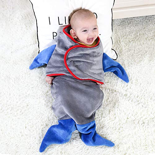 Plush Shark Sleeping Bag (Baby Sleeping wrap, Swaddle Blanket Adjustable Soft Silky Comfortable Flannel Plush Sack Breathable, Allow Newborn Better Relax Sleep, Become Cute Fish, Best Gift for Infant Boy Girl (Grey)