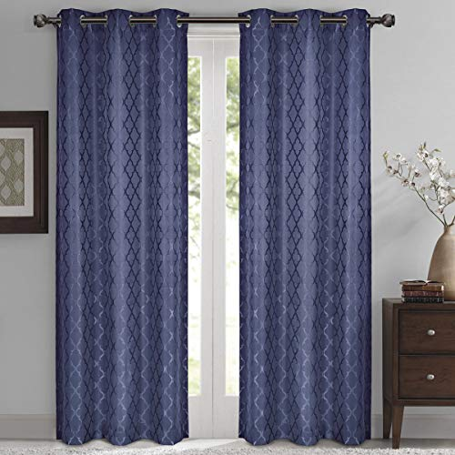 Willow Jacquard Navy Grommet Blackout Window Curtain Panels, Pair / Set of 2 Panels, 84x84 inches Each, by Royal Hotel