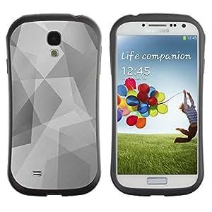 Hybrid Anti-Shock Bumper Case for Samsung Galaxy S4 / Cool Polygon B&W Pattern