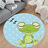 Nalahome Modern Flannel Microfiber Non-Slip Machine Washable Round Area Rug-cor Sleeping Prince Frog In A Cap Polka Dots Background Cute Animal World Kids Green Blue area rugs Home Decor-Round 67''