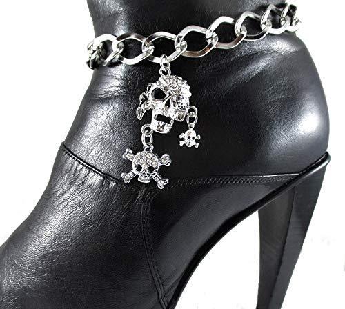 Rhinestone Crossbones Skull Pirate - Pirate Patch + Skull Crossbones Boot Chain Boot Bracelet Bling Jewelry Gift Chain Women's Accessory Halloween Costume
