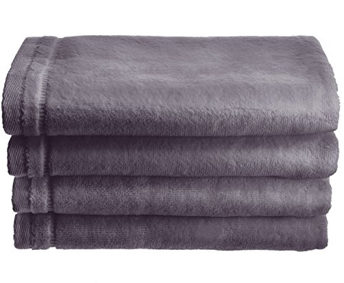 on Velour Fingertip Towel, 4 Piece Set, 11 by 18-Inch, Gray with Embroidered Grey Trim ()