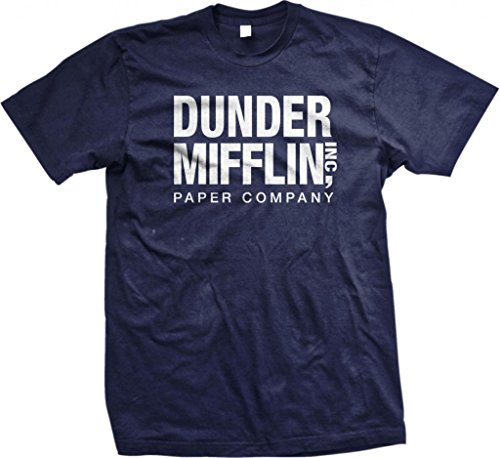 T-shirts Screen Printed - Dunder Mifflin Paper Inc T-Shirt, The Office T-Shirts, TV Show T-Shirts, Navy, XL