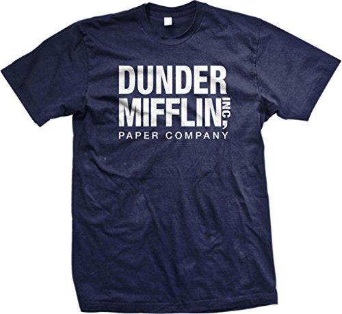 Mens Tv Shows (Dunder Mifflin Paper Inc T-Shirt, The Office T-Shirts, TV Show T-Shirts, Navy,)