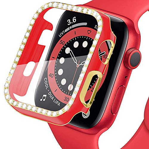 LOBKIN Colorful Bling Crystal Diamond Shiny Frame Apple Watch Case Tempered Glass Screen Protector Compatible iWatch Series SE/6/3 Bumper Smartwatch Full Cover Protective Case (Red-Gold, 40mm)