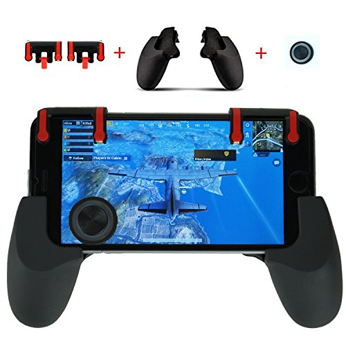 Blue Royale Dinner - Mobile Phone Gaming Controller Accessory Bundle - L+R Triggers, Controller Grip, Joystick for PUBG / Fortnite / Knives Out / Rules of Survival - Works with Android and iOS