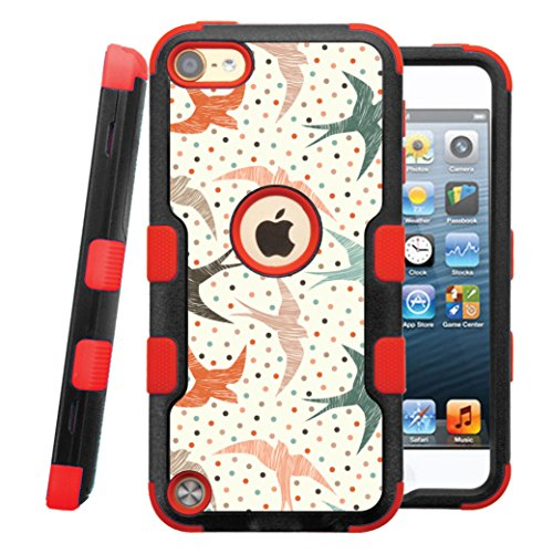 iPod touch 5th / 6th Case, CASECREATOR[TM] For Apple iPod touch 5th / 6th generation () -- NATURAL TUFF Hybrid Rubber Hard Snap-on Case Red Black-Polka Dot Swallows ()