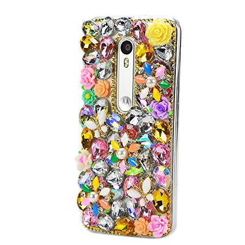 - STENES Moto Droid Turbo 2 Case - Luxurious 3D Handmade Sparkly Crystal Bling Cover Protection Case with Retro Bows Anti Dust Plug -Butterfly Rose Flowers/Yellow