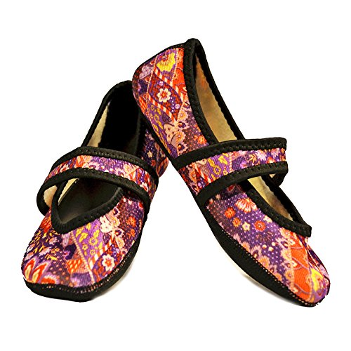 - Nufoot Women's Betsy Lou Fuzzies Slipper Socks, Large, Maroon Floral