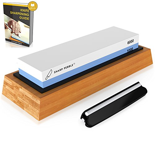 Premium Knife Sharpening Stone 2 Side Grit 1000/6000 Waterstone | Best Whetstone Sharpener | NonSlip Bamboo Base & Angle Guide by Sharp Pebble