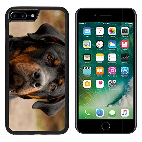 Backplate Narrow (MSD Premium Apple iPhone 7 Plus Aluminum Backplate Bumper Snap Case IMAGE ID: 15039948 frontal portrait of an adult male purebred Rottweiler narrow dof focus on the eye)