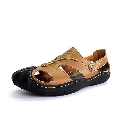 2ce15084f9d892 XUE Men s Shoes Leather Spring Summer Comfort Light Soles Sandals Slippers    Flip