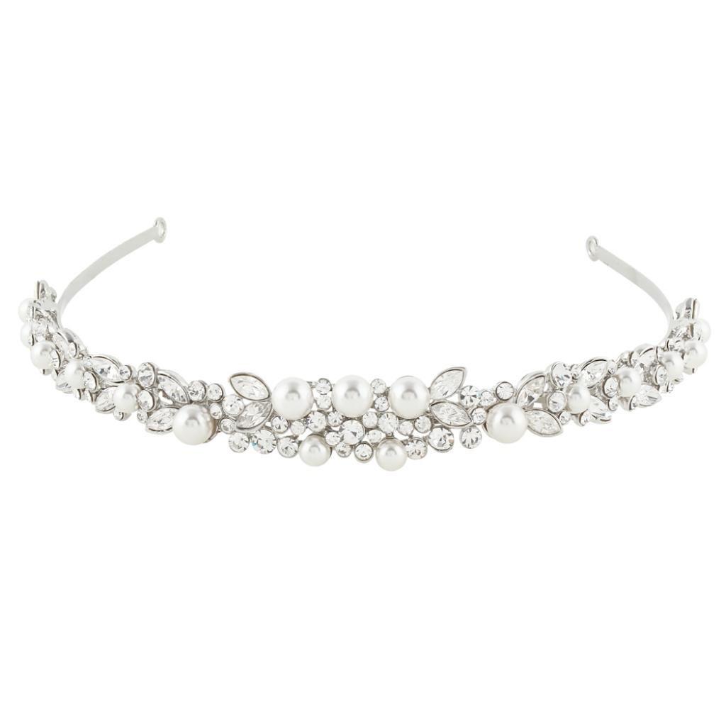 Ever Faith Silver-Tone Crystal Ivory Color Simulated Pearl Wedding Hair Headband Clear N03997-1