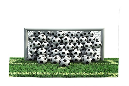 Lunarable Sports Tapestry, Goal Net Full of Soccer Balls on The Green Football Field Schoolyard Victory, Fabric Wall Hanging Decor for Bedroom Living Room Dorm, 45 W X 30 L inches, Green Black White by Lunarable