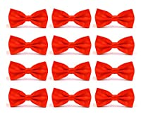 12pcs Men's Pre-tied Adjustable Formal Bow Tie Tuxedo Solid Bowtie by Avant Men