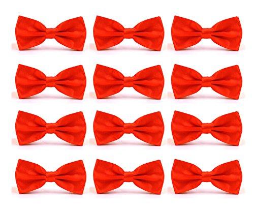 ed Adjustable Formal Bow Tie Tuxedo Solid Bowtie by Avant Men (12 pack-Warm Red) (Adjustable Tuxedo)