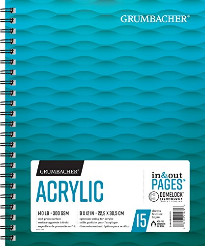Grumbacher Acrylic Paper Pad with In & Out Pages, 140 lb. / 300 GSM, 9 x 12 inches, Side Wired, 15 White Sheets/Pad, 1 Each, 26460801013
