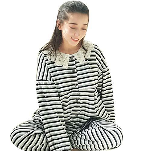 Metro Black Amamantamiento Para Embarazadas B Tamaño Bambú Algodón Pijamas Conjunto B De Huifei Mujeres Prenatales color Rayas Postnatales Y w46TFt
