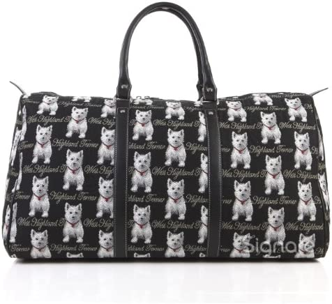 Signare Tapestry Large Duffle Bag Overnight Bags Weekend Bag for Women with Black and White Westie Design BHOLD-WES