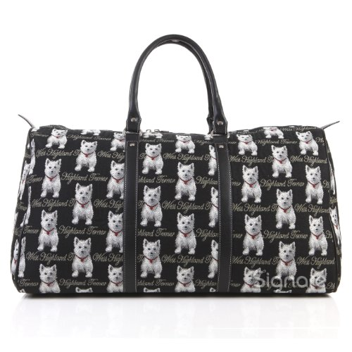 Signare Tapestry Black and White Women's Carry-on Overnight Weekender Duffel Travel Bag with Westie Dog (BHOLD-WES)