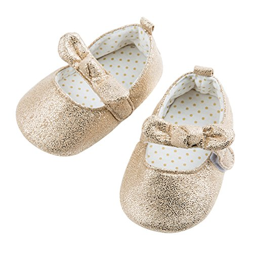 Dicry Baby Girls Soft Sole Non-Slip Sparkly Shoes Gold Velcro Buckle Mary Jane Shoes with Sequins Bowknot for 6-12 Months Infant - Image 7