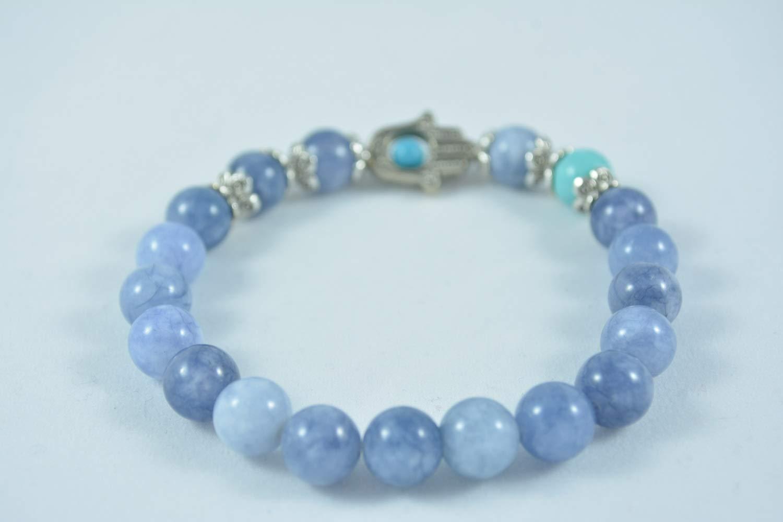 Handmade Womens Quartz and Turquoise Stretch Bracelet