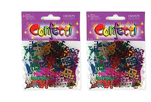 Bat Mitzvah Confetti in Hebrew and English Multicolred 2 Pack]()