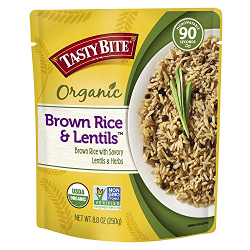 Tasty Bite Brown Rice Lentil 8.8 Ounce (Pack of 6), Whole Grain Brown Rice with Savory Lentils and Herbs, Gluten Free, Vegan, Ready to Eat, -