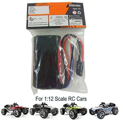 AHAHOO Rechargeable Battery 7.4V 1500mAh High Capacity Battery Pack for AHAHDD 1:12 Scale RC Cars 35MPH+ High Speed Off-Road Remote Control Vehicle 2.4Ghz Radio Controlled