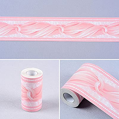 SimpleLife4U Pink Bowknot Wallpaper Border Peel & Stick Wall Covering Kitchen Bathroom Bedroom Tiles Decor Sticker