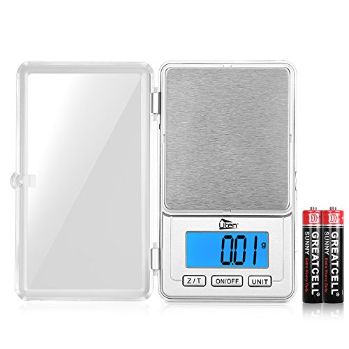 Digital Pocket Scale 100G/0.01G Stainless Steel High-Precision Electronic Portable Mini Jewelry Scales, PCS, Tare & Zero Function, LCD Display with 2 AAA Batteries