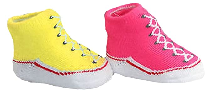 d54c8c6853ea Converse All Star Girls 2-Pack Infant Booties 0-6 Months (Bright Pink Yellow)   Amazon.co.uk  Clothing