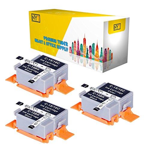 New York Toner New Compatible 6 Pack 3 BCI-15B Black 3 BCI-15C Color High Yield Inkjet For - i70 | i80 . -- Black Color