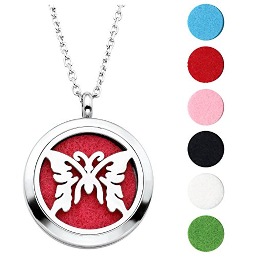 Jovivi Hypoallergenic 316L Surgical Stainless Steel Hollow Aromatherapy Essential Oil Diffuser Charm Necklace Locket Pendant,24 Inch Chain 6 Washable Pads -