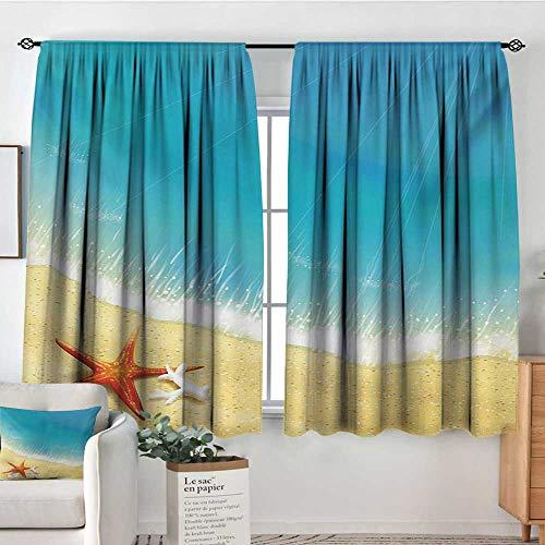 (Mozenou Starfish Blackout Window Curtain Seashore View Waves on Sandy Beach Caribbean Paradise Summer Season Illustration Bedroom Blackout Curtains 63