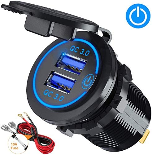 Caravan Red Boat Motorcycle CHGeek 12V//24V 36W Waterproof Dual QC3.0 USB Fast Charger Socket Power Outlet with LED Digital Voltmeter for Marine Quick Charge 3.0 Car Charger Truck and More