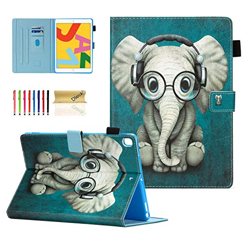 Dteck Case for iPad 10.2 2019 7th Generation - Slim Fit Premium PU Leather Folio Stand Smart Soft Protective Cover with Pencil Holder, Auto Wake/Sleep and Wallet Pocket, Doctor Elephant