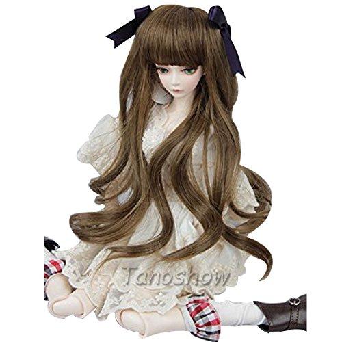 Tanoshow(たのショー) 1/3ドール用ウィッグ カーリーヘア ロング 綺麗 人形用ウィッグ カールエクステ グラデーションエクステ ツートンカラーウィッグ 頭周り約 8-9 インチ(22~24cm) BJD SDドール用髪 耐熱 180℃ 高温ウィッグ (ブラウン+ボウタイ)