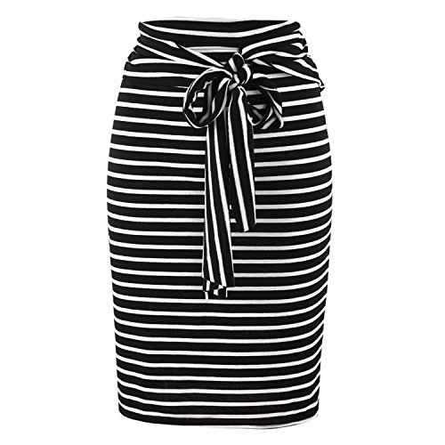 Misscat Women Striped Split Stretchy Pencil Bodycon Midi Knit Skirt (M, Black)