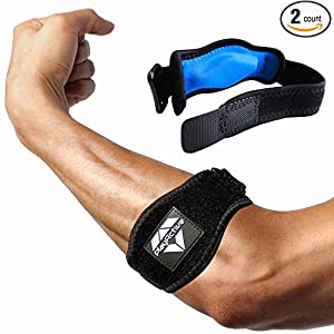 Tennis Elbow Brace (2+2 Pack) with Compression Pad by PlayActive Sports - Best Tennis & Golfer's Elbow Strap Band - Relieves Tendonitis and Forearm Pain - Includes Two Elbow Support Braces and E-Guide