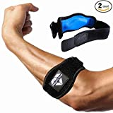 #8: Tennis Elbow Brace (2+2 Pack) with Compression Pad by PlayActive Sports - Best Tennis & Golfer's Elbow Strap Band - Relieves Tendonitis and Forearm Pain - Includes Two Elbow Support Braces and E-Guide