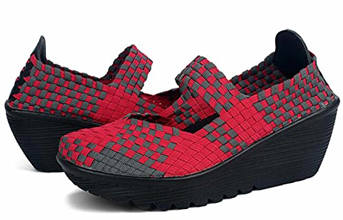 5 GFONE Size Sneaker Shoes On Mary Platform Slip Working 2 Shoes Jane Casual Color Fitness 8 Red Walking Wedge Women's Woven ZrqxTZ