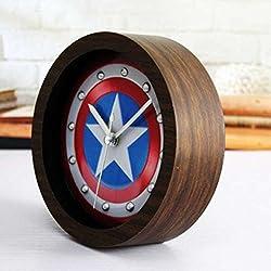 BonZeal Captain America Wooden Board 3D Shield Retro Alarm Clock