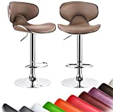 Bar Stools Brown WOLTU New Modern Light Brown Bar Stools Adjustable Synthetic Leather Swivel Hydraulic Kitchen Stools Chairs Set of 2