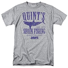 The Jaws fan in your life needs this witty, fun Quint's Shark Fishing shirt. Additionally, you'll receive two exclusive die-cut stickers: one featuring the film's unforgettable shark and a second featuring the film title in it's iconic font. ...