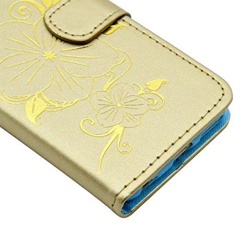 IPhone 6S Plus Case, Fleurs Butterfly Gilding Pattern Case Portefeuille Stand Case Horizontal Flip Case PU Housse en cuir TPU pour IPhone 6S Plus 5.5 pouces ( Color : Gold )